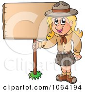 Clipart Scout Girl With A Blank Sign Royalty Free Vector Illustration