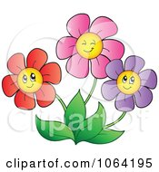 Clipart Happy Colorful Daisy Flowers 5 Royalty Free Vector Illustration
