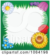 Clipart Grassy Floral Frame Around White Royalty Free Vector Illustration by visekart