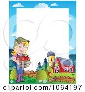 Clipart Female Apple Farmer And Barn Frame Royalty Free Vector Illustration