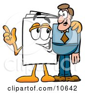 Clipart Picture Of A Paper Mascot Cartoon Character Talking To A Business Man