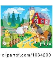 Clipart Barnyard Animal Scene 2 Royalty Free Vector Illustration