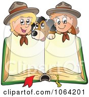 Clipart Scouts And A Dog With A Blank Book Royalty Free Vector Illustration
