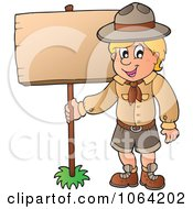 Clipart Scout Boy With A Wood Sign Royalty Free Vector Illustration