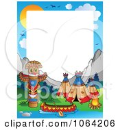 Clipart Native American Camp Frame Royalty Free Vector Illustration by visekart