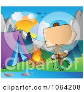 Clipart Boots On A Blank Campground Sign Royalty Free Vector Illustration