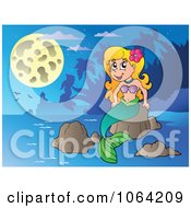 Clipart Pretty Mermaid On A Rock 3 Royalty Free Vector Illustration by visekart