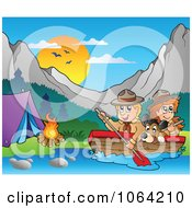 Clipart Boating Scouts By A Campground Royalty Free Vector Illustration