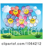 Clipart Happy Colorful Daisy Flowers 1 Royalty Free Vector Illustration