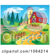 Clipart Path Leading To A Barn Royalty Free Vector Illustration