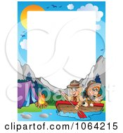 Clipart Boating Scouts By A Campground Frame Royalty Free Vector Illustration