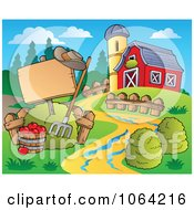 Clipart Blank Sign By A Barn Royalty Free Vector Illustration