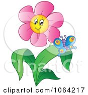 Clipart Butterfly And Pink Daisy Royalty Free Vector Illustration