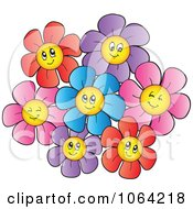 Clipart Happy Colorful Daisy Flowers 3 Royalty Free Vector Illustration