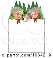 Clipart Scouts And A Dog With A Blank Sign Royalty Free Vector Illustration