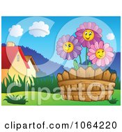 Clipart Daisies In A Garden Near Houses Royalty Free Vector Illustration