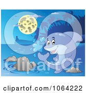 Clipart Playful Dolphin Splashing At Night Royalty Free Vector Illustration