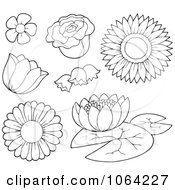 Clipart Outlined Flowers Royalty Free Vector Illustration by visekart