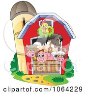 Clipart Barnyard Animals In A Barn Royalty Free Vector Illustration by visekart #COLLC1064229-0161