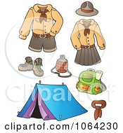 Clipart Scout Uniforms And Gear Digital Collage Royalty Free Vector Illustration