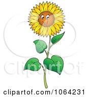 Clipart Happy Sunflower Royalty Free Vector Illustration by visekart