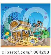 Clipart Sunken Treasure Chest Royalty Free Vector Illustration