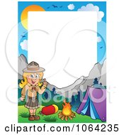 Clipart Camping Scout Girl Frame Royalty Free Vector Illustration