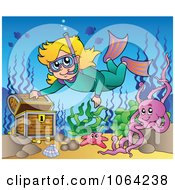 Clipart Snorkeling Girl And Sunken Treasure Royalty Free Vector Illustration