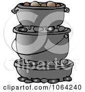 Clipart Stack Of Dutch Ovens Royalty Free Vector Illustration