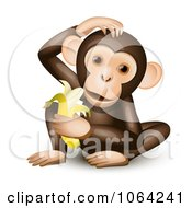 Clipart Hungry Monkey Royalty Free Vector Illustration