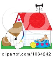 Clipart Cute Puppy Asleep In A Doghouse Royalty Free Vector Illustration