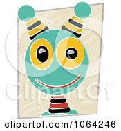 Clipart Robot Face Over Sketched Background Royalty Free Vector Illustration