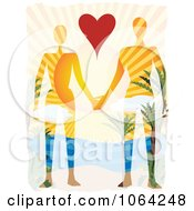 Clipart Couple Holding Hands In Paradise Royalty Free Vector Illustration