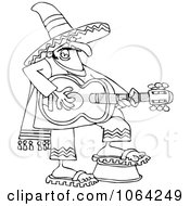 Clipart Outlined Mexican Guitarist Royalty Free Vector Illustration