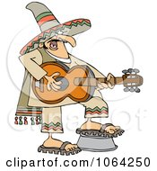 Clipart Mexican Man Playing A Guitar Royalty Free Vector Illustration