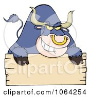 Clipart Purple Bull And Blank Sign Royalty Free Vector Illustration