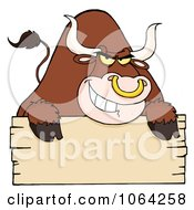 Clipart Tough Bull And Blank Sign Royalty Free Vector Illustration by Hit Toon