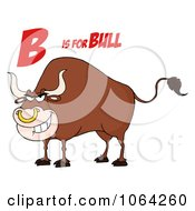 Clipart B Is For Bull Royalty Free Vector Illustration by Hit Toon