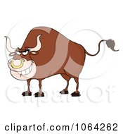 Clipart Tough Bull Royalty Free Vector Illustration by Hit Toon