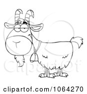 Clipart Outlined Gray Goat Royalty Free Vector Illustration