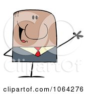 Clipart Waving Black Businessman Royalty Free Vector Illustration