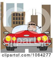 Clipart Black Businessman Driving In The City Royalty Free Vector Illustration by Hit Toon