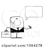 Clipart Black And White Talking Businessman Royalty Free Vector Illustration