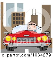 Clipart Caucasian Businessman Driving In The City Royalty Free Vector Illustration by Hit Toon