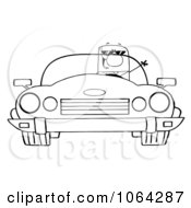 Clipart Outlined Driving Businessman Royalty Free Vector Illustration by Hit Toon