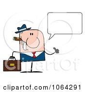 Clipart Cigar Smoking Talking Thumbs Up Caucasian Businessman Royalty Free Vector Illustration