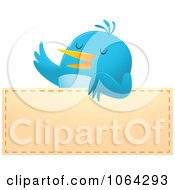 Clipart Blue Bird Over A Blank Sign Royalty Free Vector Illustration by Qiun