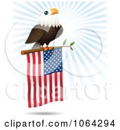Clipart Bald Eagle On An American Flag Branch Royalty Free Vector Illustration