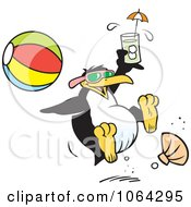 Clipart Happy Penguin At The Beach Royalty Free Vector Illustration by Johnny Sajem
