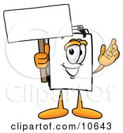 Clipart Picture Of A Paper Mascot Cartoon Character Holding A Blank Sign